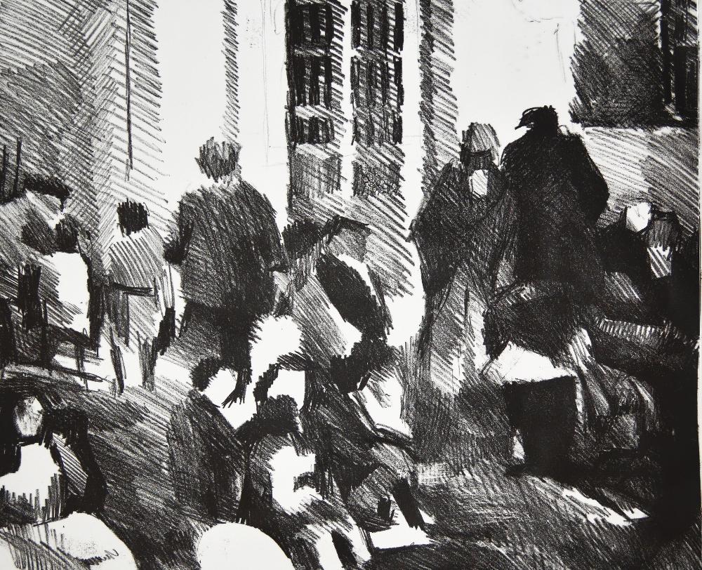 Sin título 6/8, serie España; 2018. (Litografía en piedra, mancha 49×60 cm)