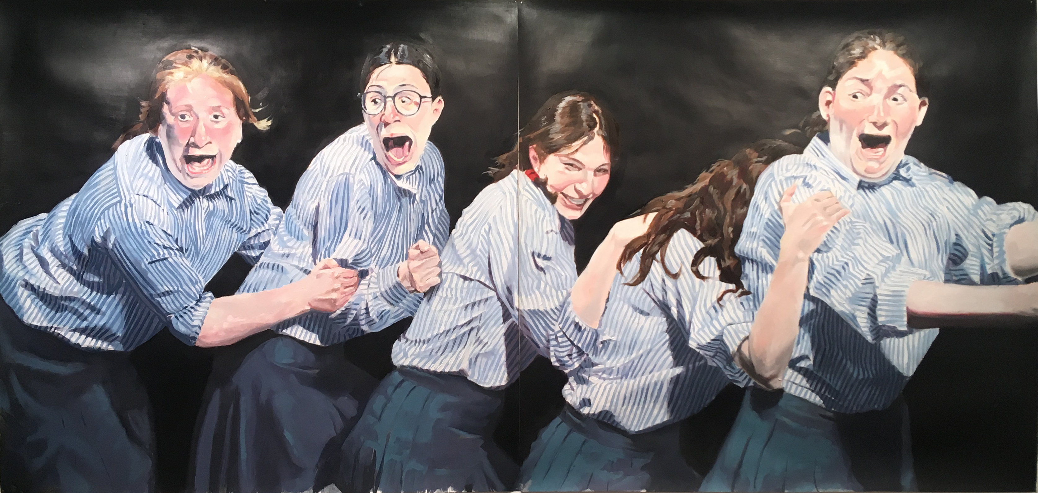 Pintura de historia IV, 2019 (Díptico; óleo sobre papel, 72×157 cm). 1.200 €
