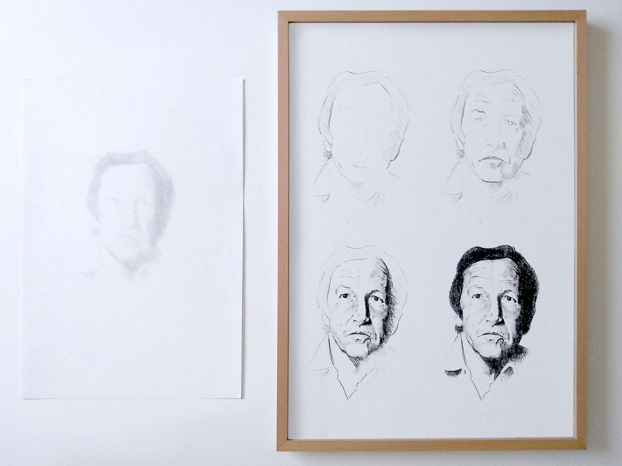 Erauschenberg (Díptico, grafito borrado sobre papel e impresión digital, 32,5×23 y 42×31,5 cm). 300 €
