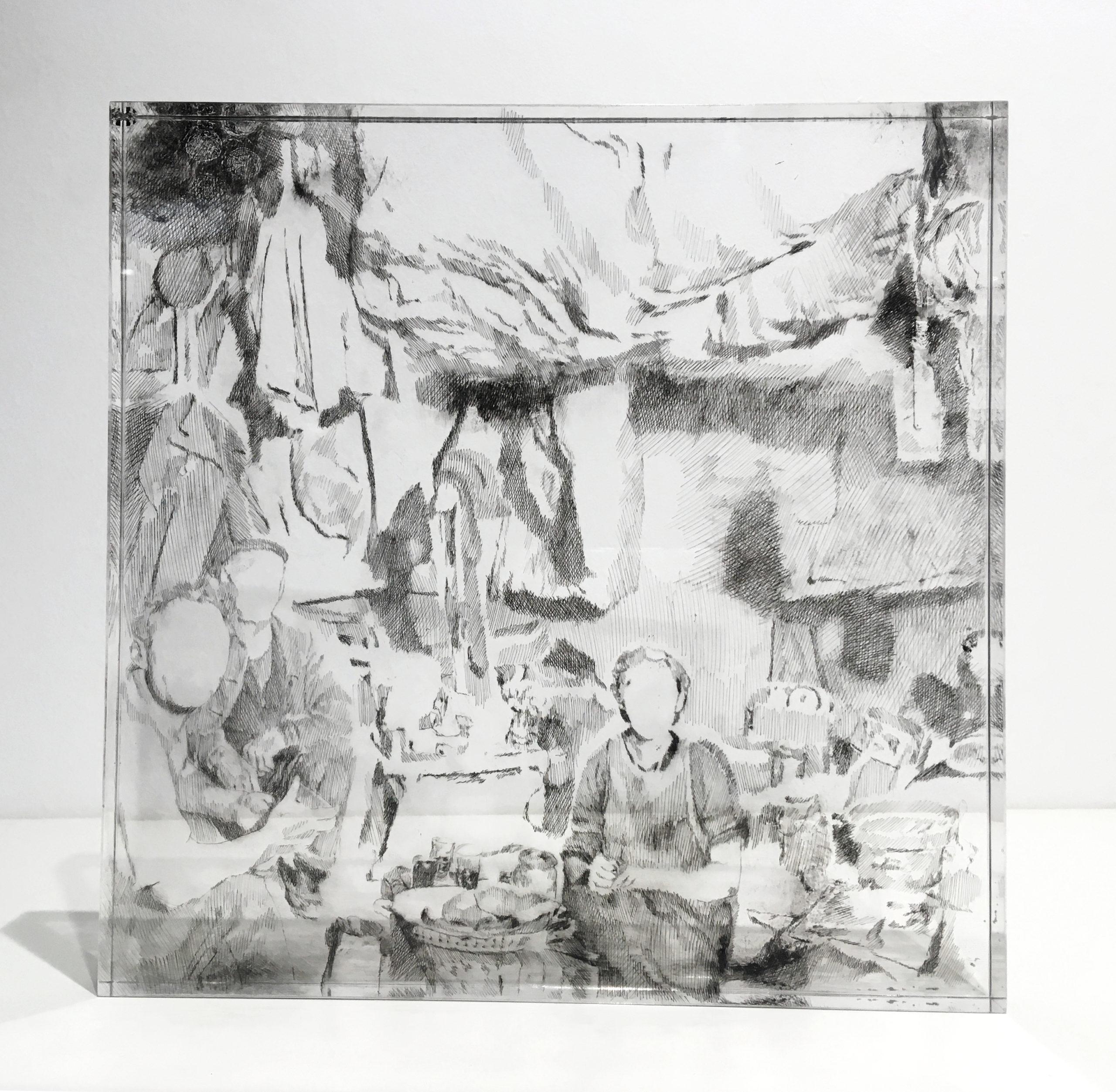 ST (serie Postales), 2019. Punta seca y tinta sobre metacrilato. 25x25x2 cm