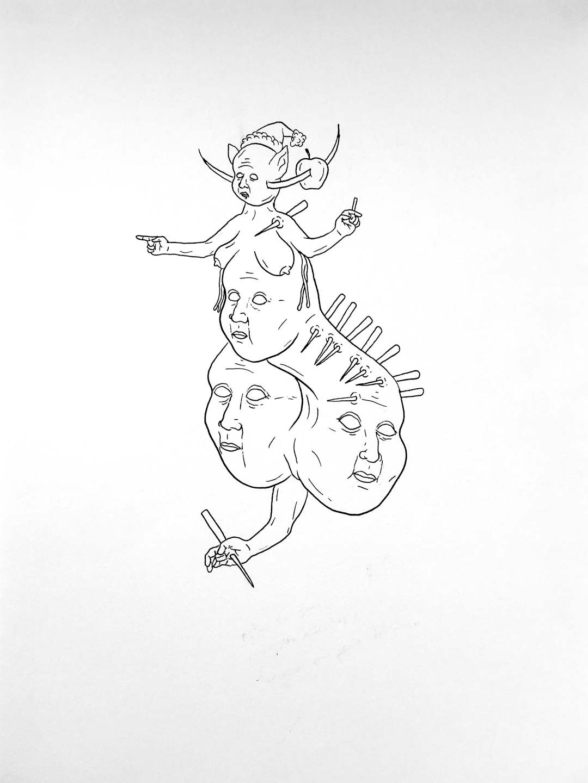 DORIAN WOOD; Sin título (Tinta sobre papel, 22,8 x 30,5 cm).